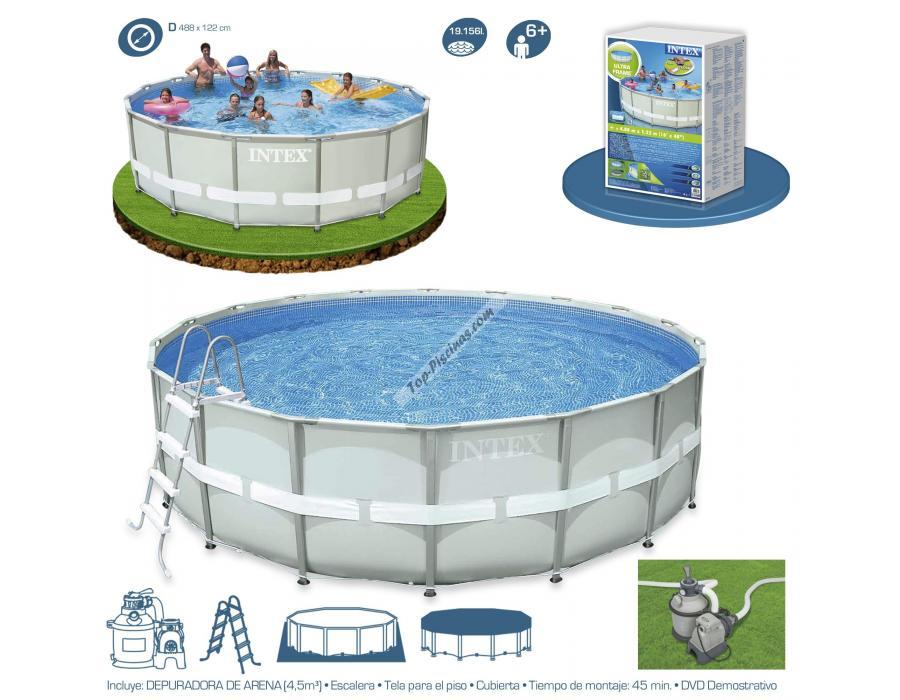 Piscina intex ultra frame 488x122 cm set depuradora arena for Depuradora de arena para piscina