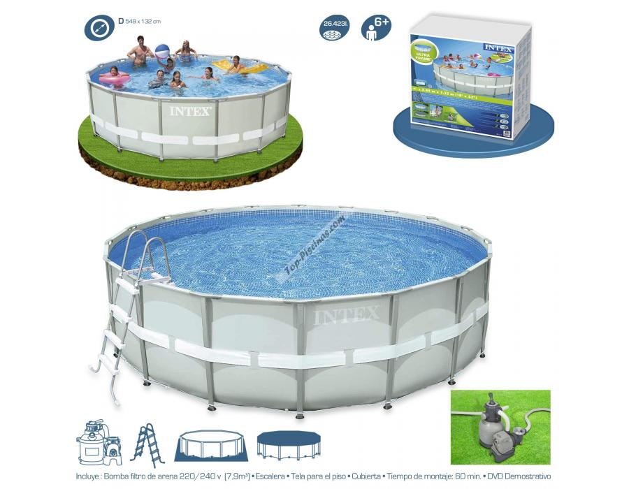 Piscina intex ultra frame 549x132 cm set depuradora arena for Piscinas portatiles