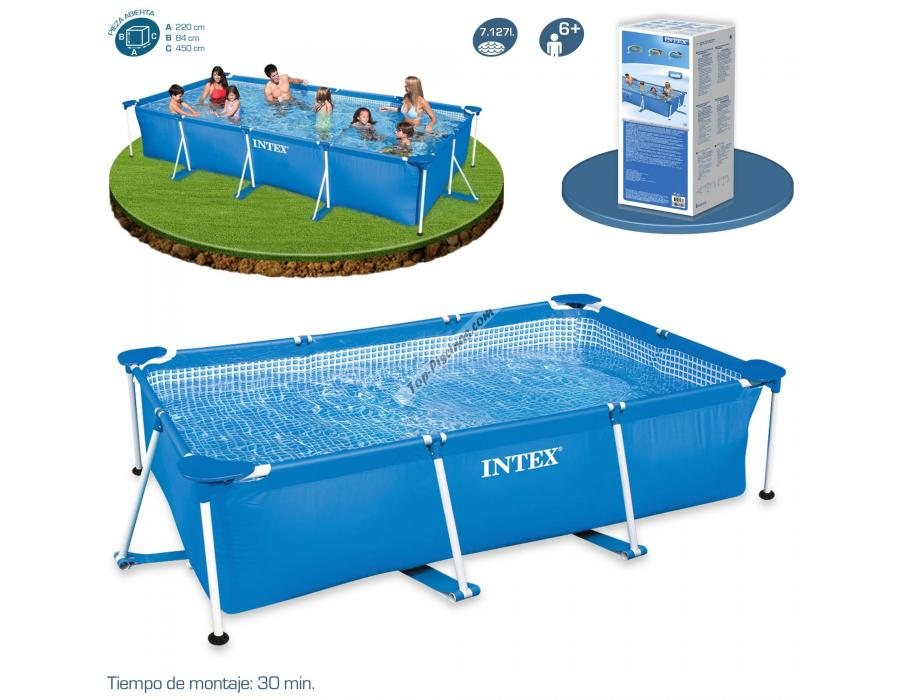 Piscina intex rectangular frame 450x220x84 cm ref 56982 for Albercas intex precios