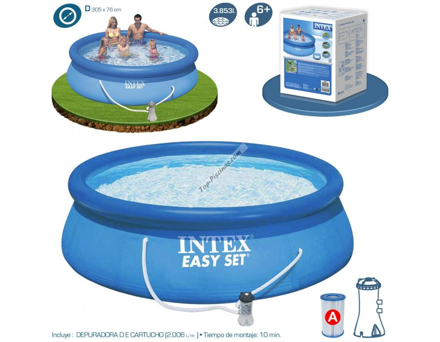 Piscina intex easy set 305x76 cm con depuradora ref 56922 for Piscinas rectangulares intex