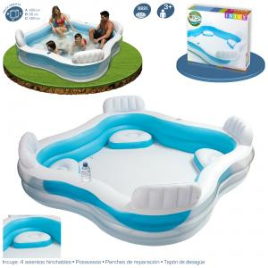 Piscina intex hinchable con asientos 229x229x66 cm ref 56475 for Accesorios para piscinas intex