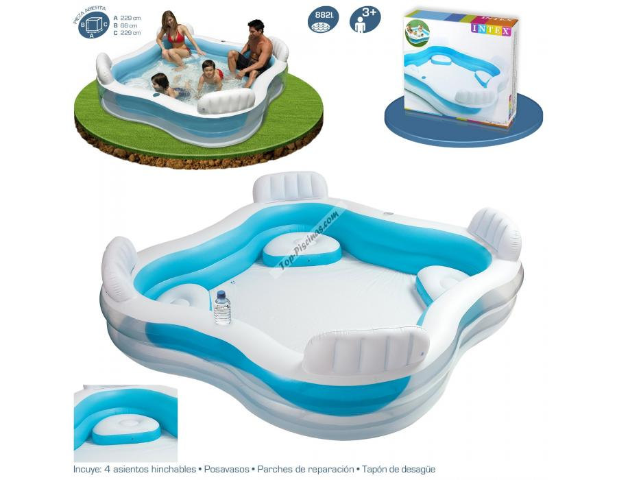 Piscina intex hinchable con asientos 229x229x66 cm ref 56475 for Intex piscine catalogo