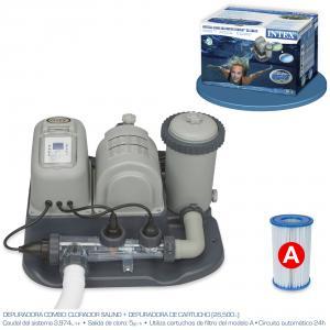 Combo Depuradora de Cartucho y Cloracion Salina Intex Ref 54616