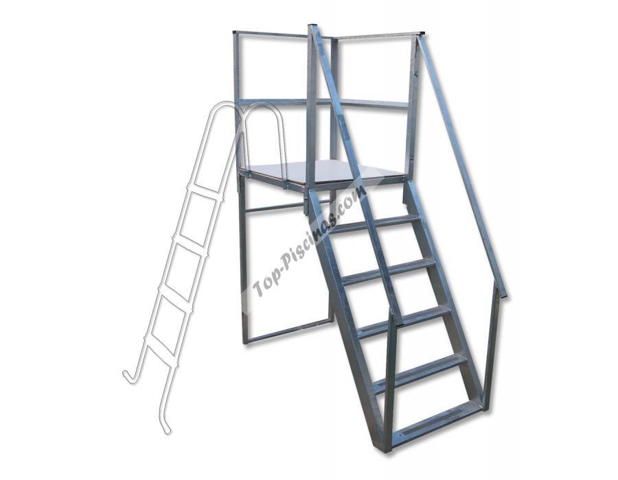 Plataforma con escalera reforzada ref 4844 for Escaleras con plataforma precios