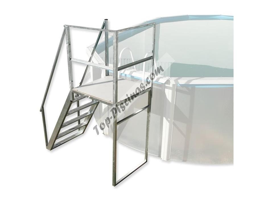 Plataforma con escalera reforzada ref 4844 - Escaleras de piscinas baratas ...