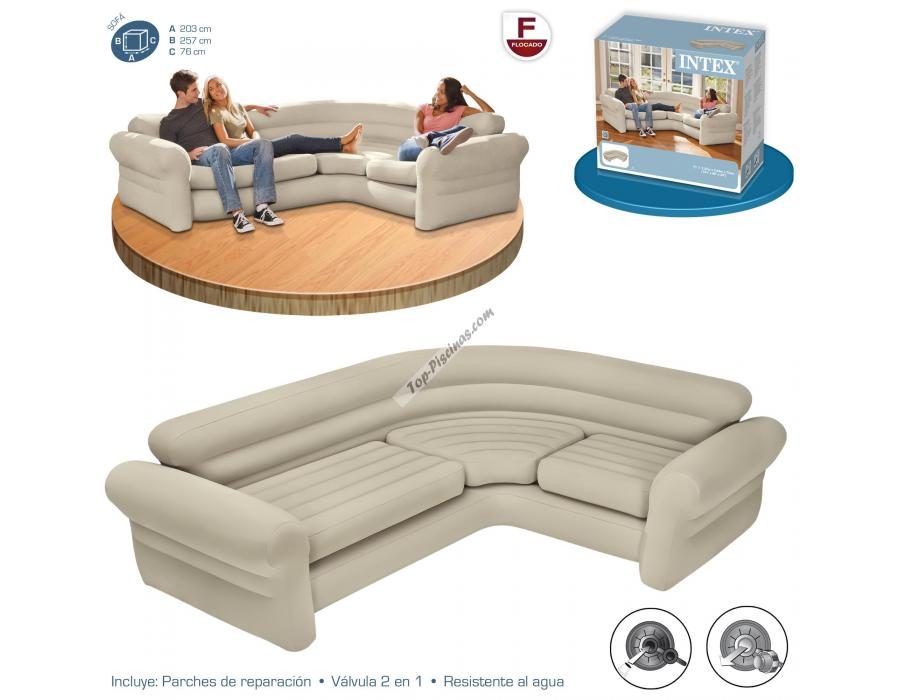 Sofa hinchable rinconera 257x203x76 cm intex ref 68575 for Sofa hinchable carrefour